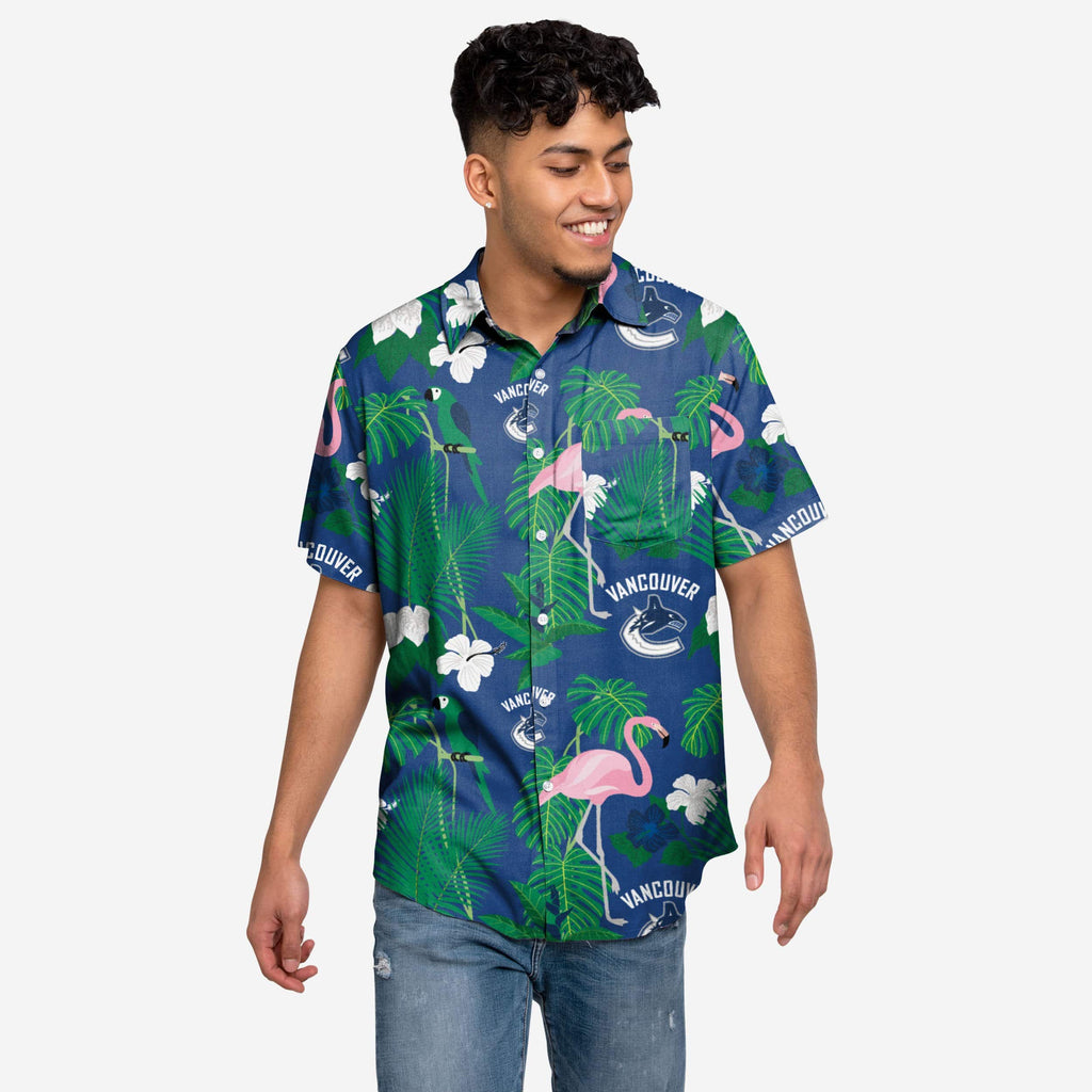 Vancouver Canucks Floral Button Up Shirt
