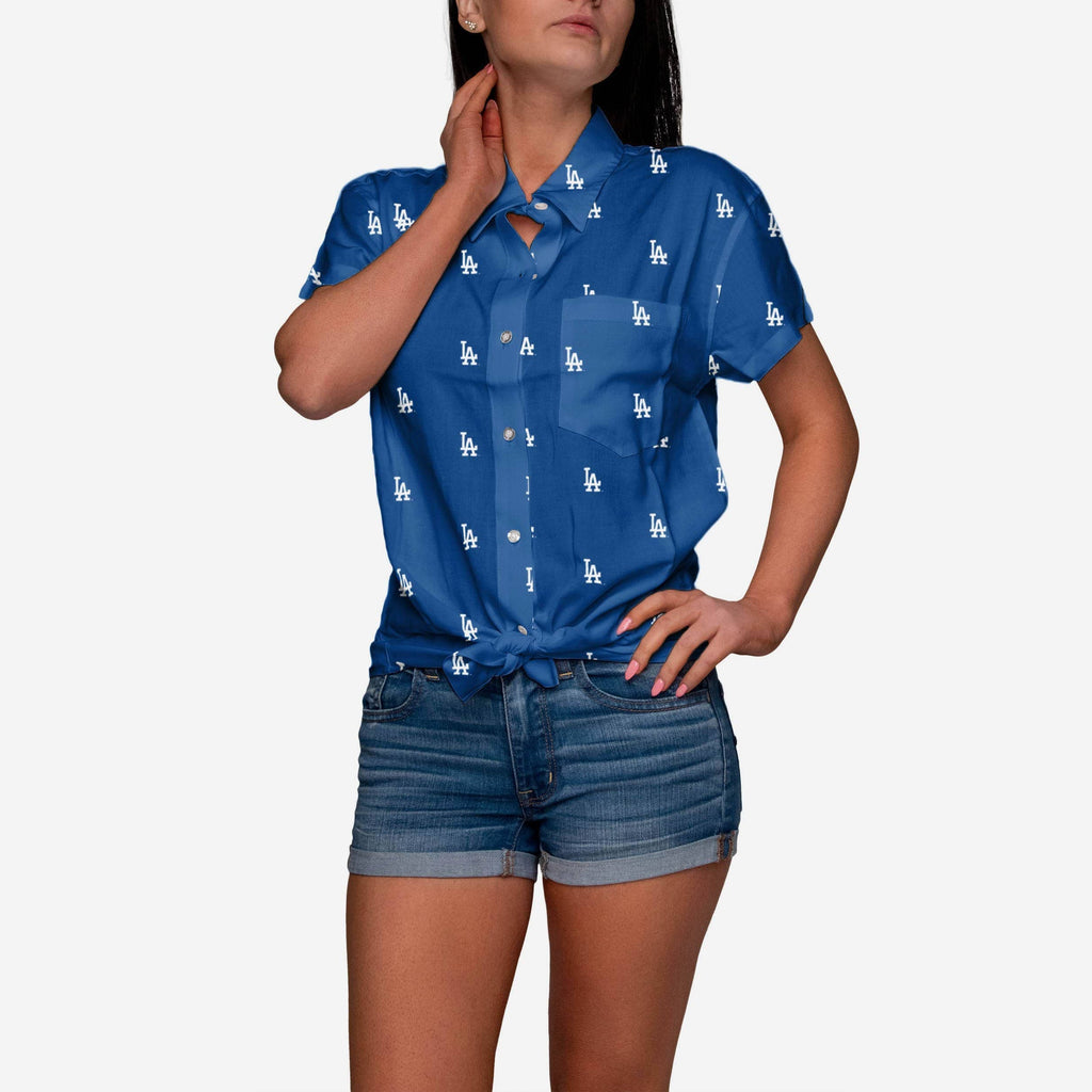 Los Angeles Dodgers Logo Blast Womens Button Up Shirt FOCO S - FOCO.com