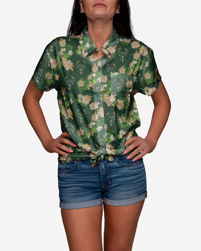 Milwaukee Bucks Womens Floral Button Up Shirt FOCO S - FOCO.com