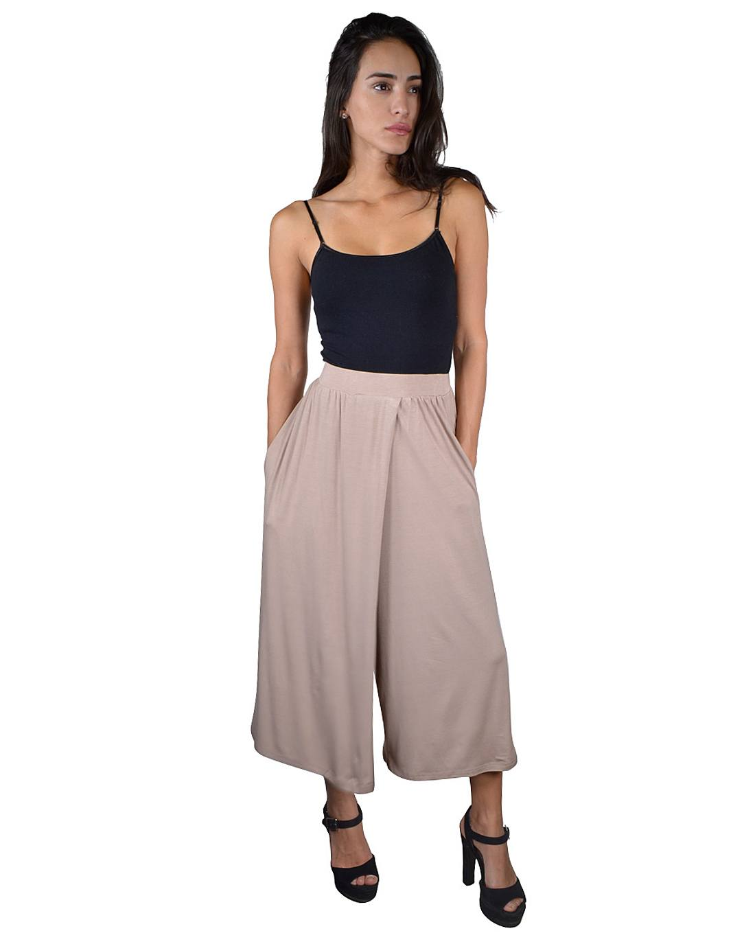 Solid Ankle Length Flared Palazzo Pants