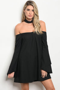 Ladies fashion long sleeve off the shoulder skater dress