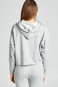 Ladies fashion dropped long sleeve raw-edge hem french terry hoodie top