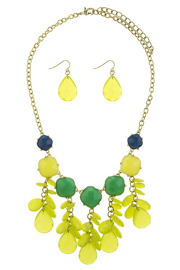 Colorful faux gem flower bib necklace set