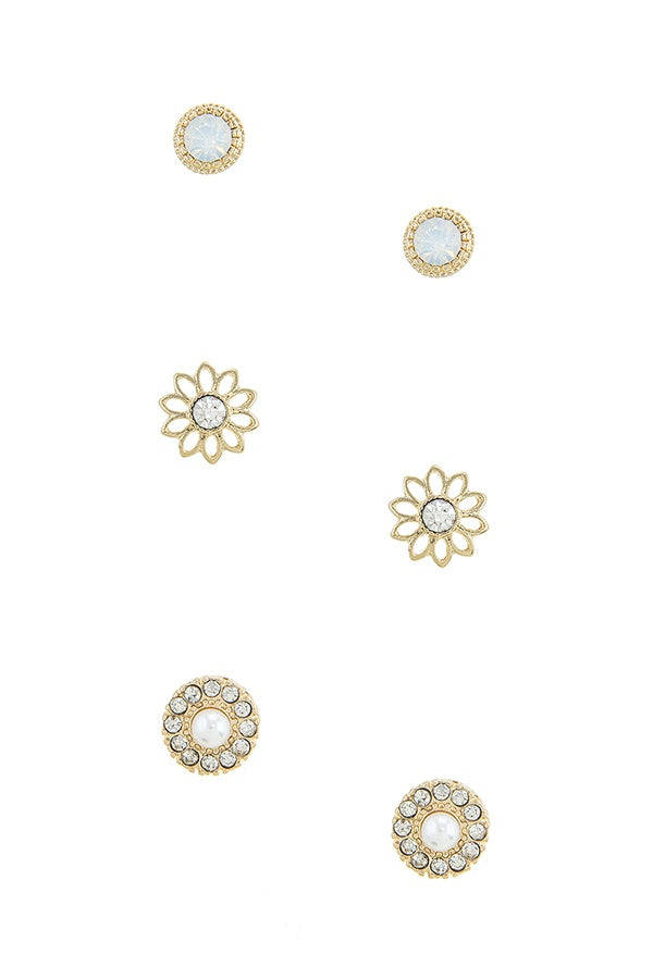 Halo flower stud earrings set