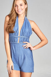 Ladies fashion halter neck w/double braid strap detail back open romper