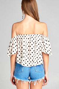 Ladies fashion off the shoulder dot print rayon challis woven top