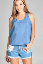 Ladies fashion sleeveless scoop neck front pocket w/button detail chambray top