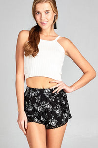 Ladies fashion front surplice w/lace trim floral print short pants