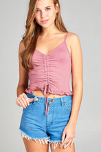 Ladies fashion v-neck shirring w/string cami rayon spandex rib top