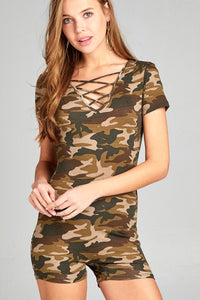 Ladies fashion short sleeve v-neck w/cross strap bodycon camo print cotton spandex romper
