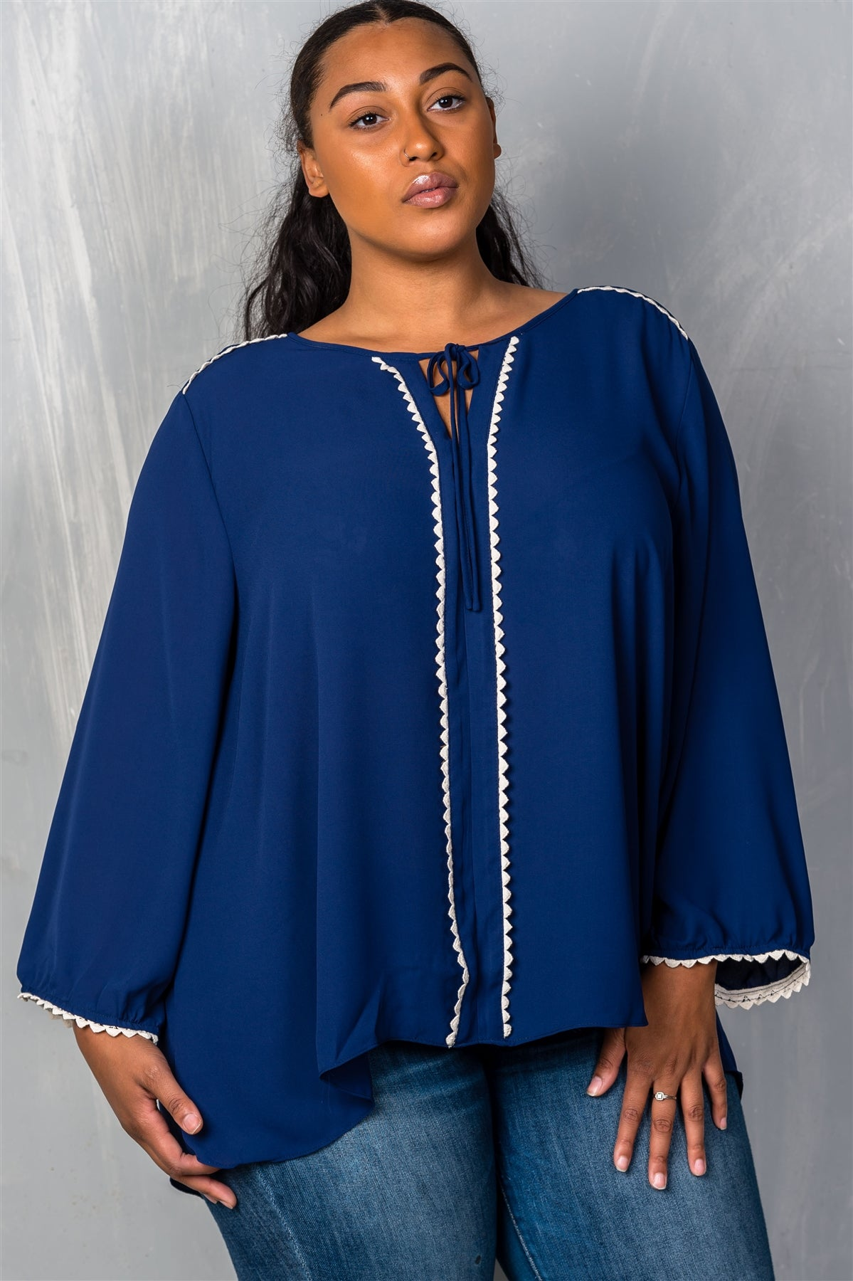 Ladies fashion plus size  navy long sleeve crepe plus size blouse