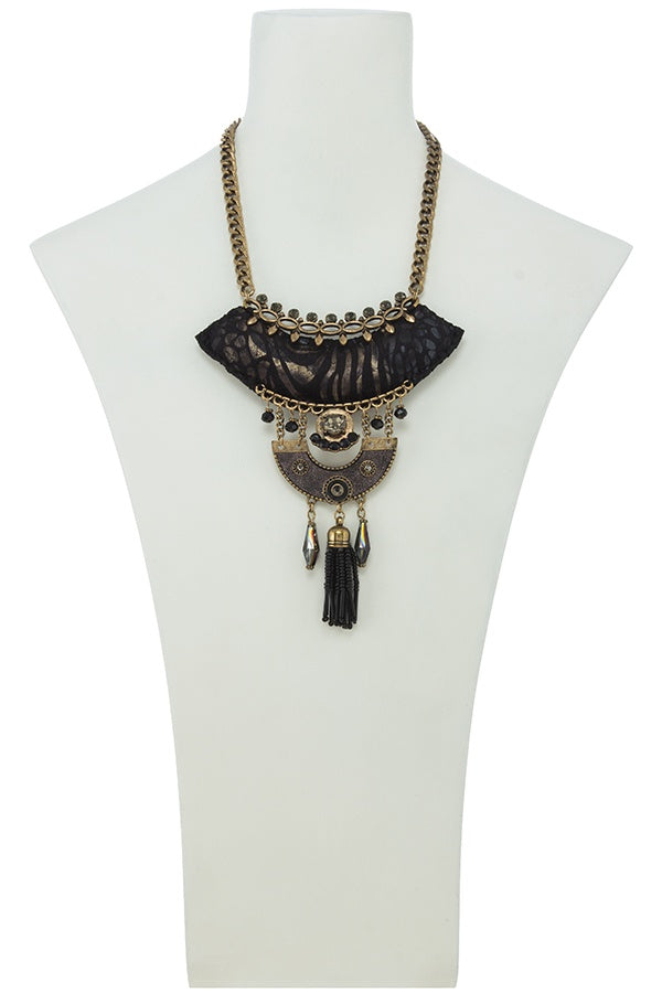 Seed bead tassel fringe black cushion pendant necklace set