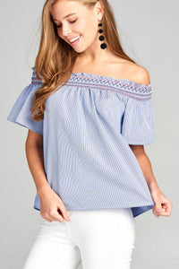 Ladies fashion short sleeve off the shoulder w/special smocked stripe woven top