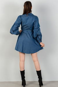 Ladies fashion  denim tiered sleeve self tie waist dress
