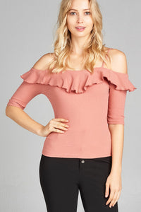 Ladies fashion elbow sleeve open shoulder w/ruffle ribbed cotton spandex top