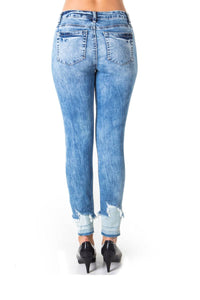 Ladies fashion denim distress capri pants with pockets