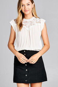 Ladies fashion ruffle sleeve front lace back button w/self tie woven top
