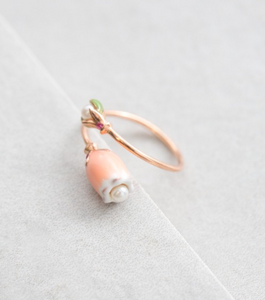 Coral Blossom Ring 14K