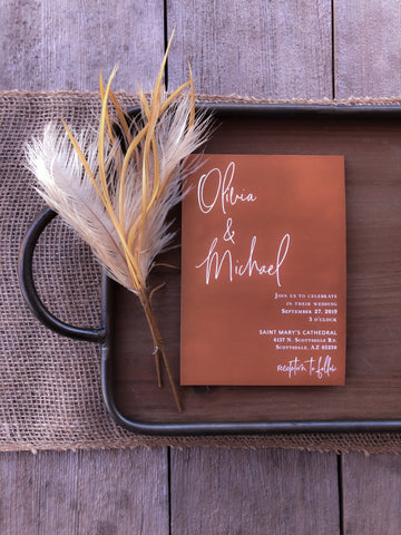 Yass!! This is the boho wedding invitation of your dreams. It has rust, burnt orange, and mauve. Also, it is not going to break the bank. These invitations are made for a real budget. You will get super high quality invitations and envelopes. They are mailed to you super quickly too. If you want to add addressing to your envelopes, you can!