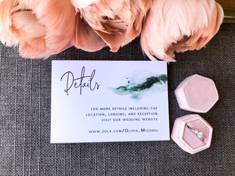 Green watercolor wedding invitations. The watercolor looks like a geode on the side and it is simple gorgeous! These are perfect for a fall wedding.