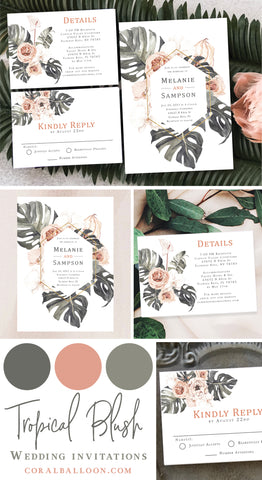 The perfect tropical invitation to go with your destination wedding. If you are having a wedding at the ocean, beach, or resort, this is the invitation for you! The palm leaves and pink shades will make your guests swoon.