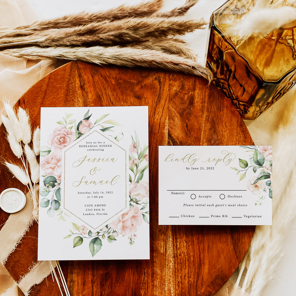 Blush floral rehearsal dinner invitation with RSVP card. Both invites and RSVP cards include envelopes.