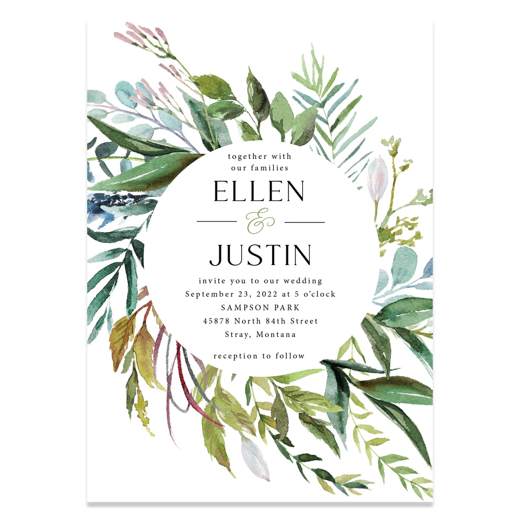 Botanical wedding invitation suite. Your guests will love how elegant these wedding invitations are.