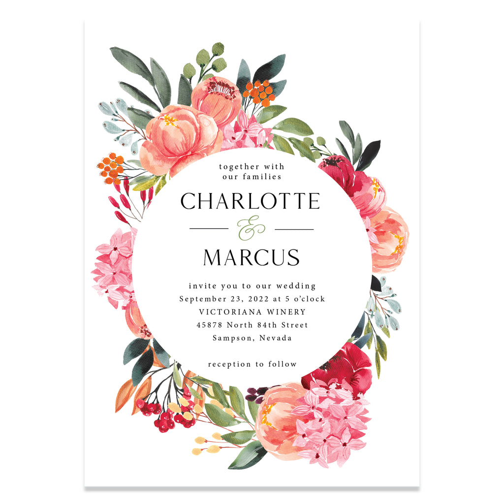 Bright floral wedding invitation suite.