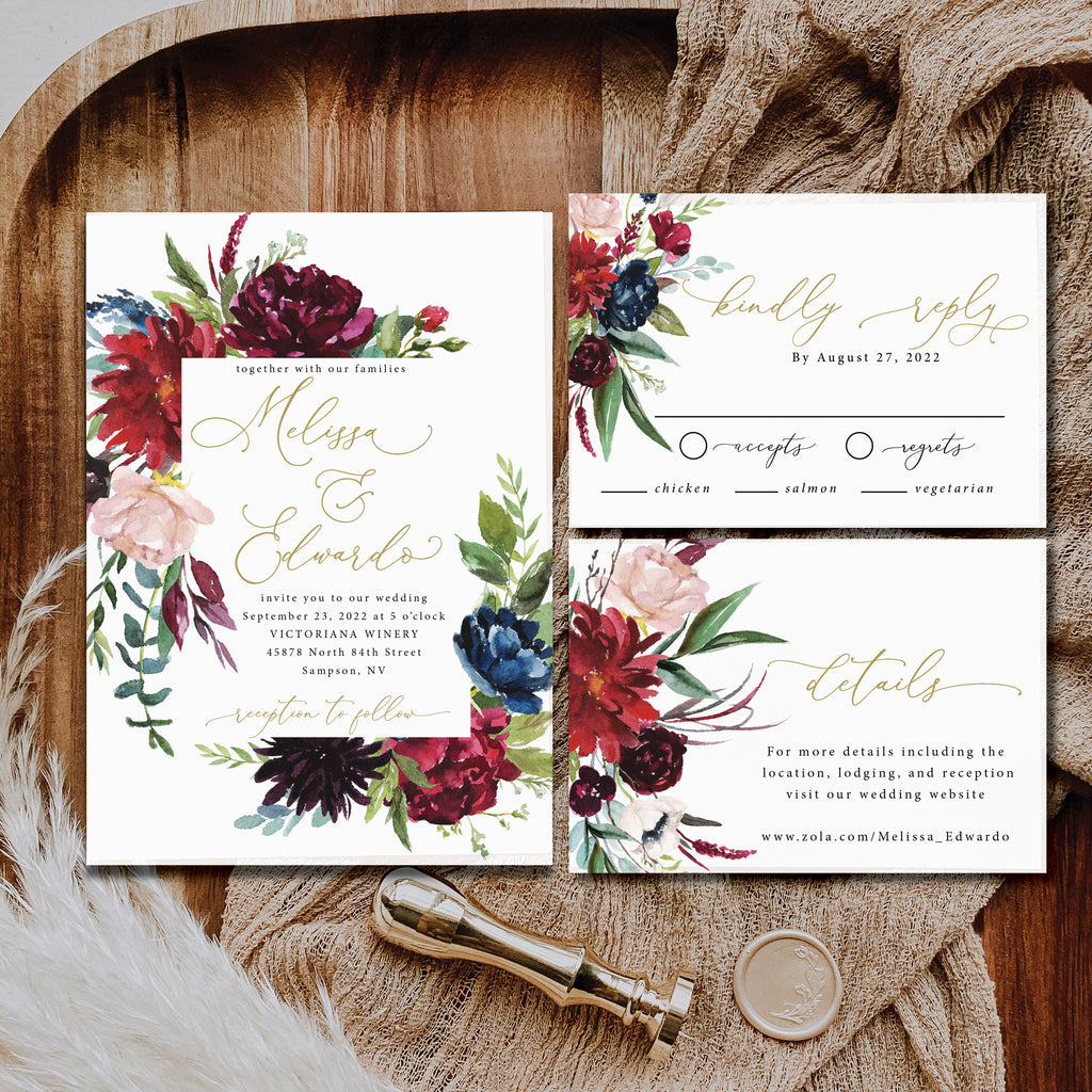 Burgundy and navy watercolor floral wedding invitations with a hint of gold. These invitations are so beautiful! Your guests will love them.
