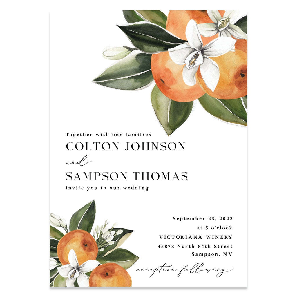 Citrus wedding invitation suite.