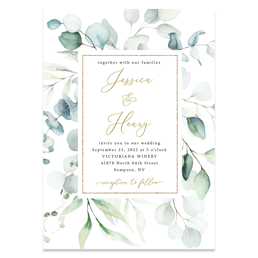 Eucalyptus wedding invitation suite with faux gold.