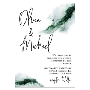 Emerald Green watercolor wedding invitation suite for a modern wedding.