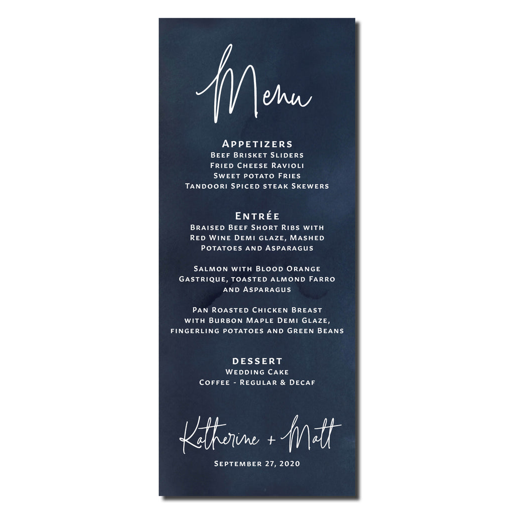 Navy watercolor menu cards that are printed for you.