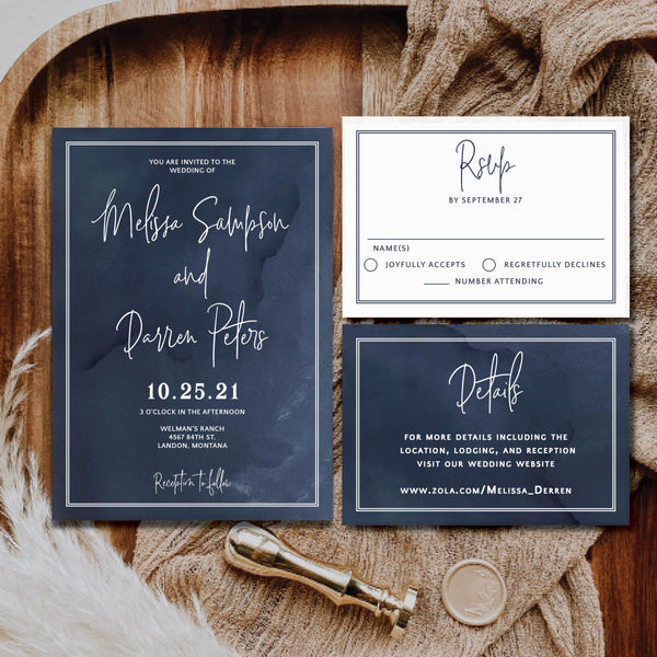 Navy Watercolor Wedding Invitation. You can add a details card or RSVP card. Perfect for beach weddings, destination weddings, ocean weddings, cruise weddings and navy weddings.