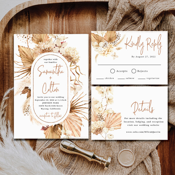 Pampas grass wedding invitation suite that is perfect for your budget.