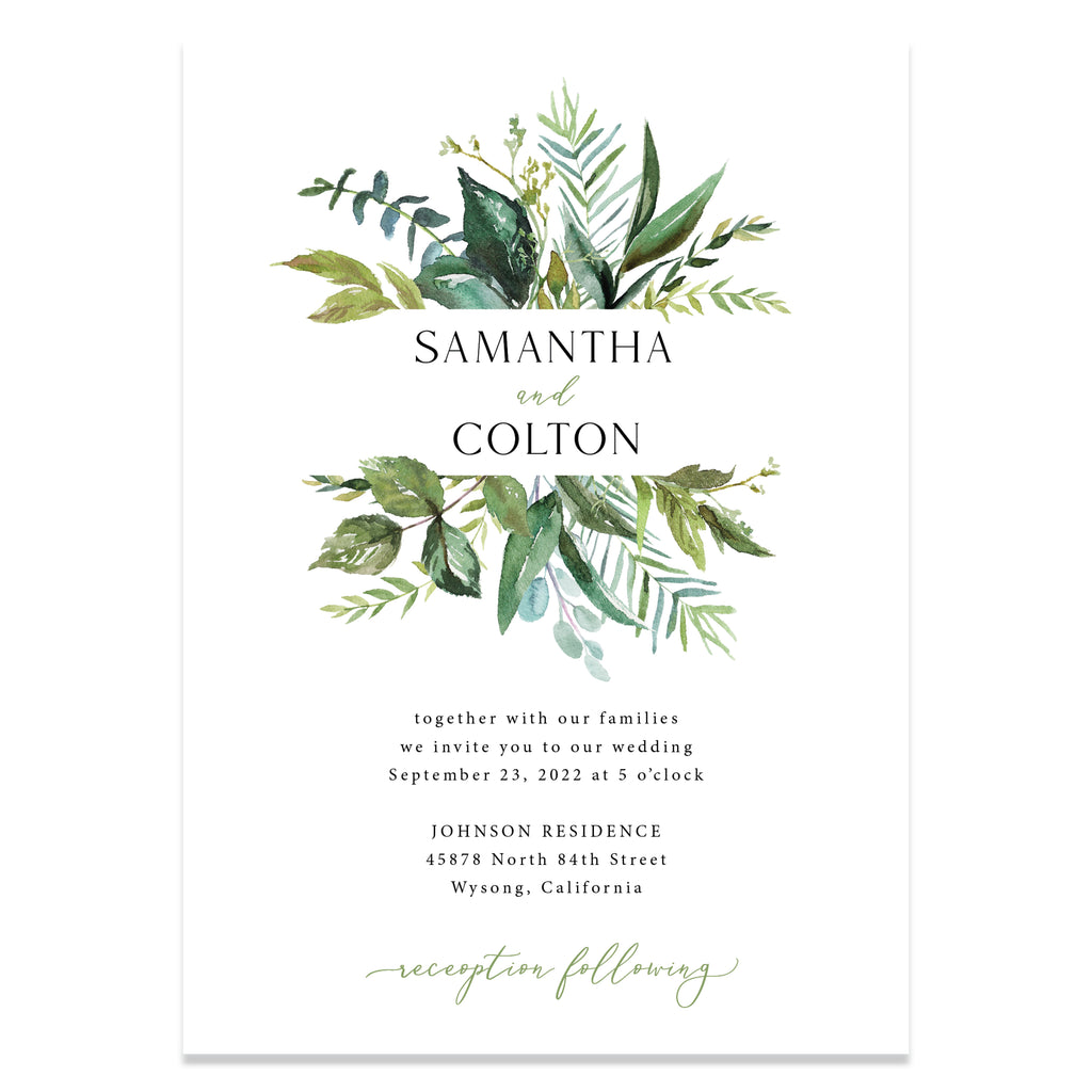 Greenery wedding invitation suite. Perfect for an outdoor wedding.