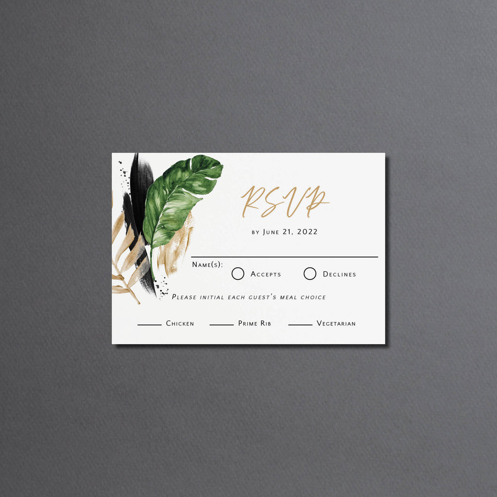 Tropical rehearsal dinner invitation with RSVP cards. Both include white envelopes. www.coralballoon.com