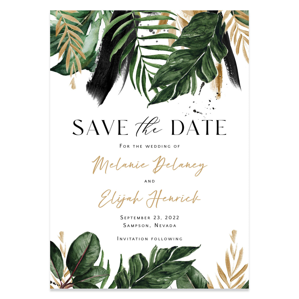 Tropical save the date cards with envelopes.
