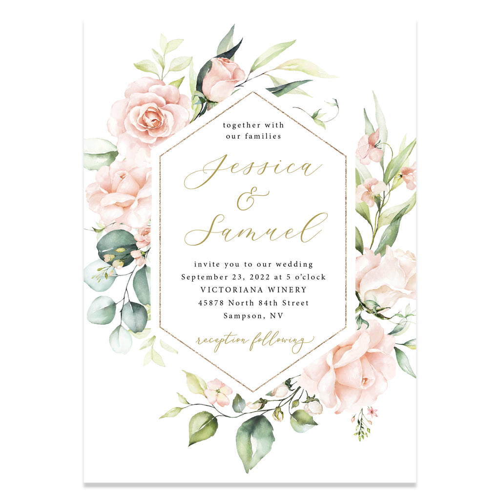Pink floral with faux gold wedding invitation suite.