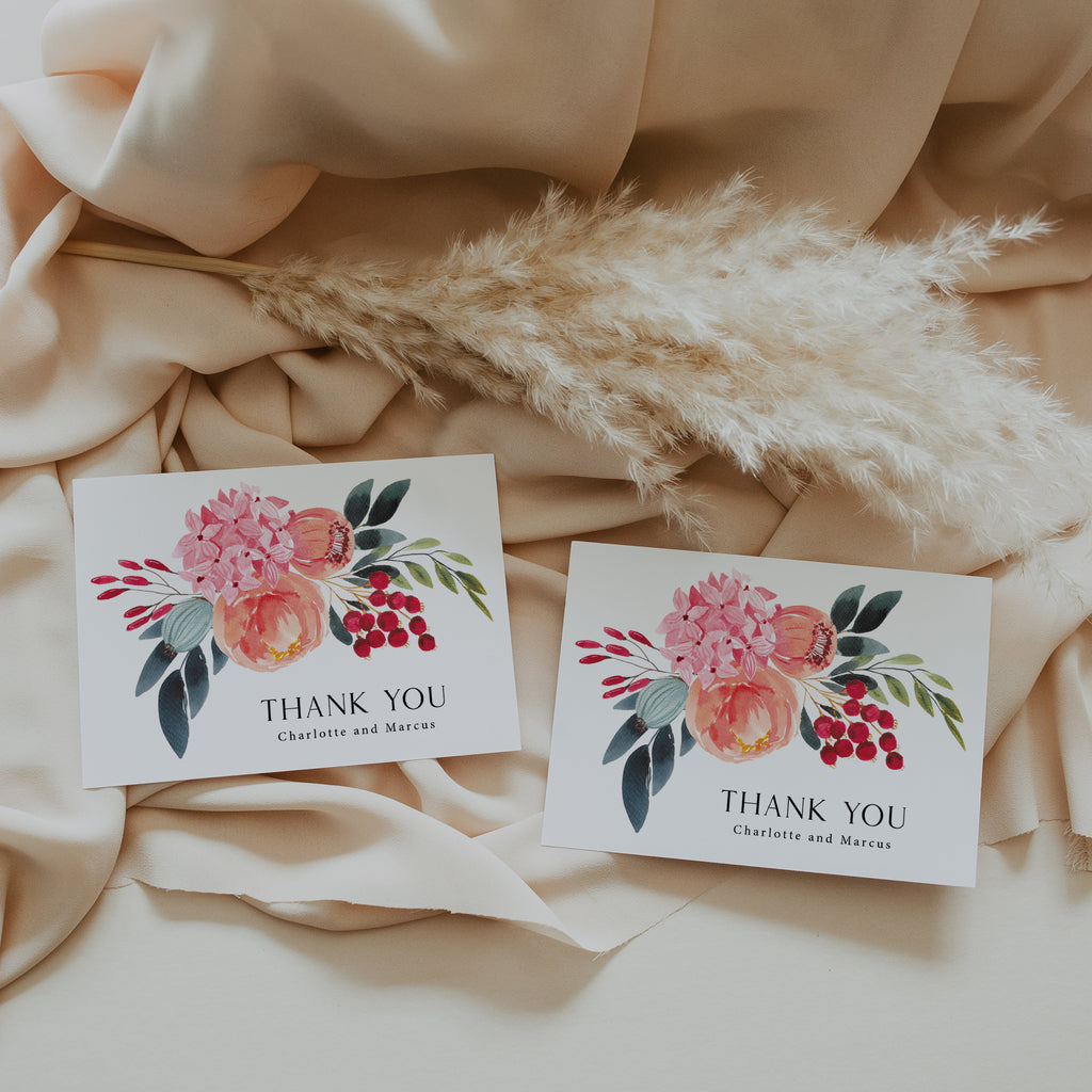 Bright floral thank you cards with envelopes.