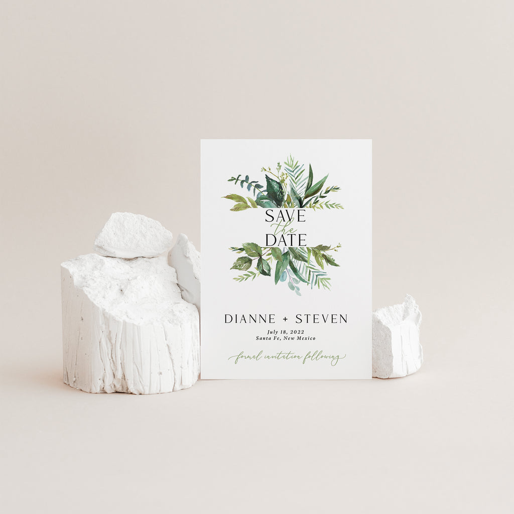 Greenery save the date cards with envelopes.