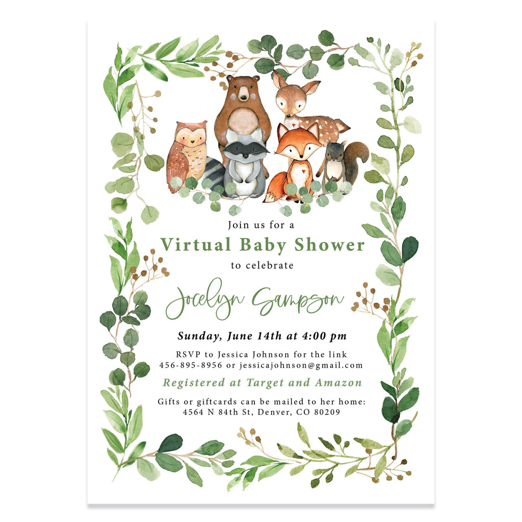 Virtual woodland baby shower invitation. www.coralballoon.com