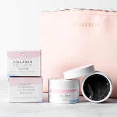 Collagen Volcanic Mud Mask and Cosmetic Bag Bundle