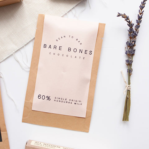 Mini Milk Chocolate Bar (60% Single Origin Honduras) by Bare Bones Chocolate