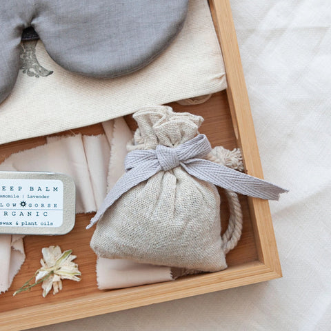 Alice & Peg Slumber Box - British Ethical Gift Set - Luxury Sleep Mask Gift Set featuring a beautiful handmade bamboo eye mask with cotton pouch, handmade organic Sleepy Head Room and Pillow Spray, handmade Sleep Balm, handmade dream pillow and two organic chamomile teas.
