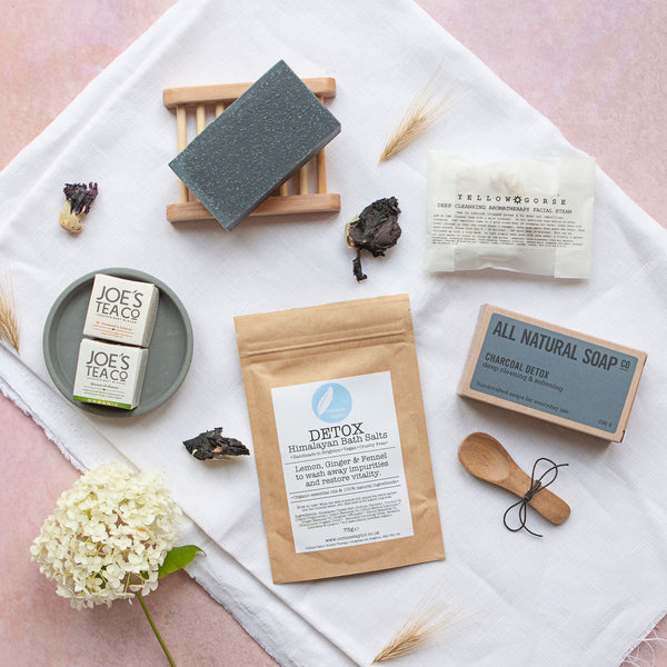 Alice & Peg Pamper Gift Box - Deep Cleanse Letterbox Gift Set - Ethical Pamper Gift UK featuring handmade charcoal soap, detox bath salts, deep cleansing facial steam and two cleansing organic herbal teas