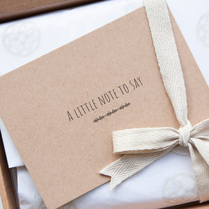 Alice & Peg Little Bathtime Rituals Three Month Letterbox Subscription - Your first gift set will be delivered with a handwritten greetings card.