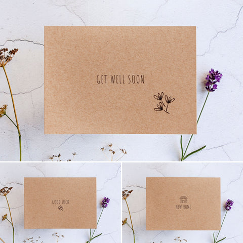 This vegan letterbox gift set comes with a choice of greetings card. Personalised with your message.