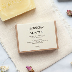 Alice & Peg New Beginnings Box - Luxury Ecofriendly Vegan New Mum & Baby Pamper Gift Set - Featuring an organic handmade soap bar by Nathalie Bond. Unscented and handmade with organic ingredients, packaged in an easy to recycle card sleeve.
