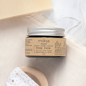 Alice & Peg New Beginnings Box - Luxury Ecofriendly Vegan New Mum & Baby Pamper Gift Set - Featuring Bump Balm handmade in the UK by Moksa. Packaged in a beautiful little amber jar with aluminium lid for easy recycling.